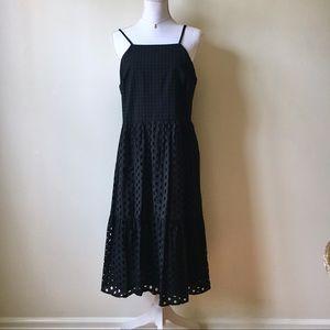 LOFT | Black Square Eyelet Midi Dress